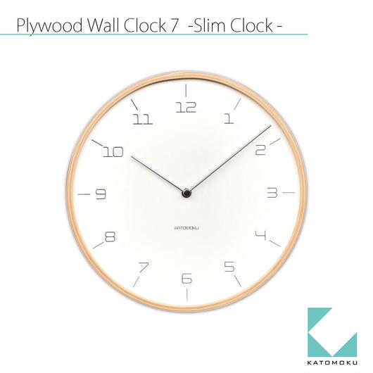 名入れ 木プレート KATOMOKU plywood wall clock 7 -Slim Clock-  km-71N ナチュラル 連続秒針
