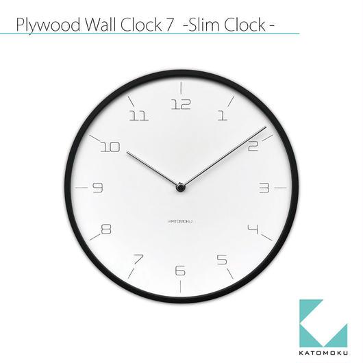 名入れ  木プレート KATOMOKU plywood wall clock 7 -Slim Clock-  km-71B ブラック 連続秒針