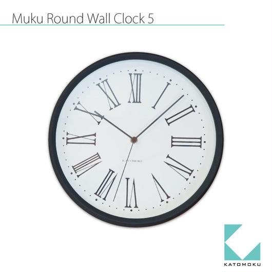 名入れ 木プレート KATOMOKU muku round wall clock 5 km-58BRC ブラック 電波時計 連続秒針