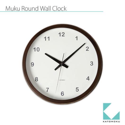 名入れ 木プレート KATOMOKU muku round clock km-31B ブラウン 連続秒針