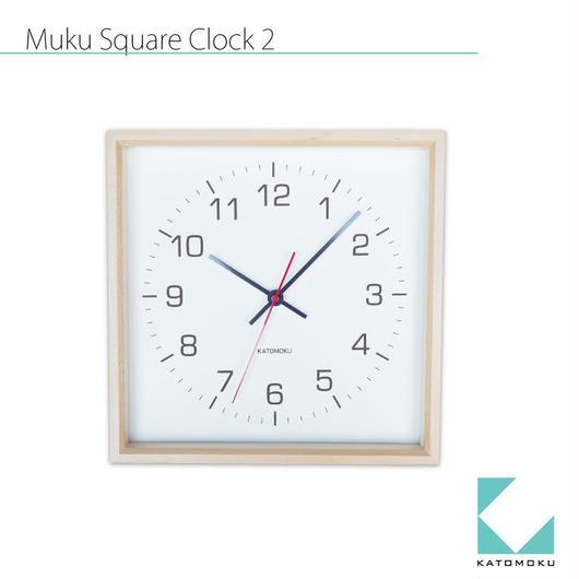 名入れ プリント KATOMOKU muku square clock 2 km-65N ナチュラル 連続秒針