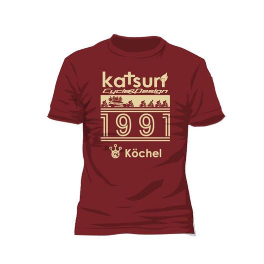 Racing scene T-shirt Burgundy 送料無料