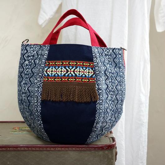 タイの藍染×カリンガ族古布 ボニーバッグSサイズ(A)