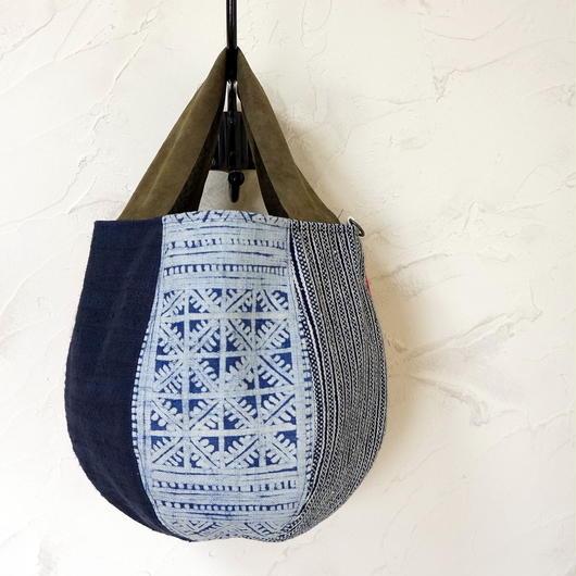 タイの藍染・羊革ハンドル  ボニーバッグSサイズ (B)
