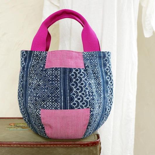 タイの藍染×バリのコットン ボニーバッグSサイズ(B)