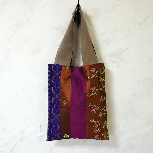 インドネシア絣×ミャンマーミシン刺繍 A4トート(B)