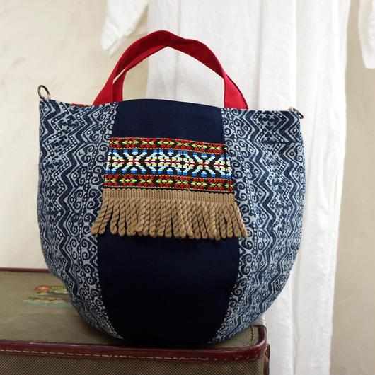 タイの藍染×カリンガ族古布 ボニーバッグSサイズ(B)