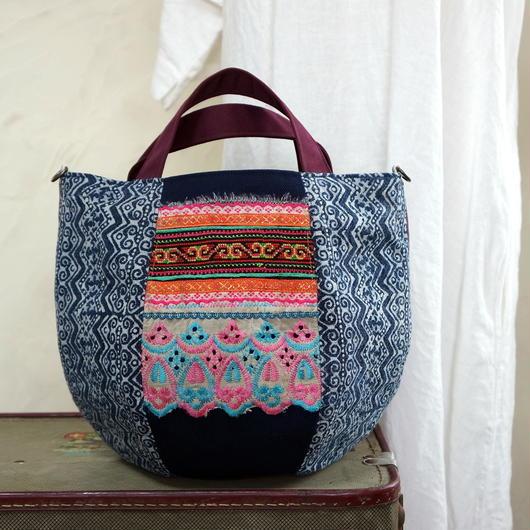 タイの藍染×モン族古布 ボニーバッグSサイズ(A)