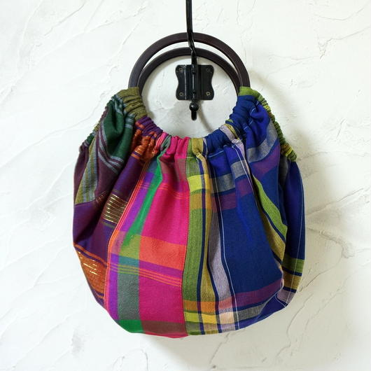 フィリピン手織り布のグラニーバッグ(C)