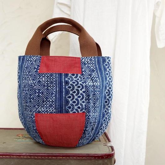 タイの藍染×バリのコットン ボニーバッグSサイズ(A)