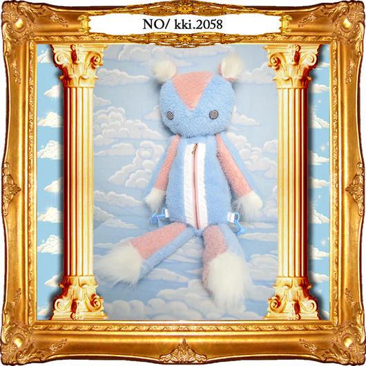 kki.2058 レトロ風バイカラーボアくまちゃんBAG。