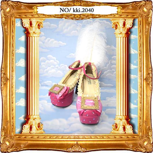 kki.2040 額縁リボンパッションピンクのきらめきカスタムシューズ。