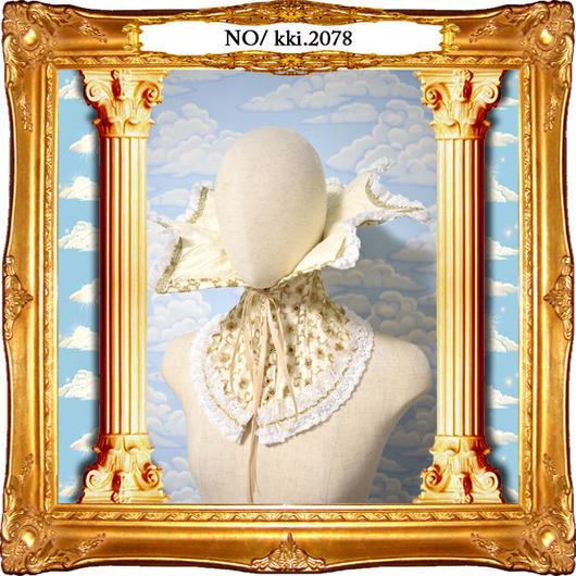 kki.2078 ヴィンテージベージュエリザベスネック。
