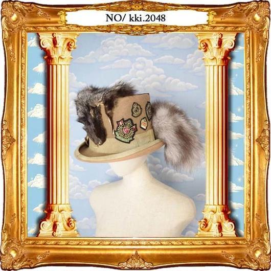 kki.2048 狐とエンブレムのヴィンテージ風シルクHAT。