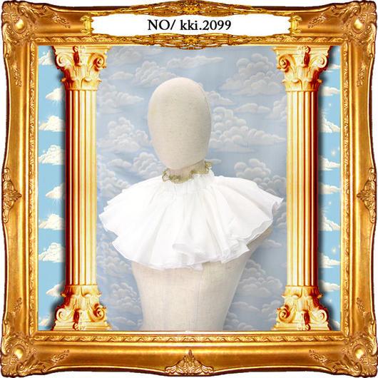 kki.2099 ホワイトガーゼフリルネックラフ。