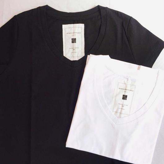 【 REMANIANOWORKS 】100%オーガニックコットン VneckTシャツ