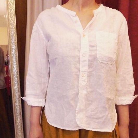 【 OMNIGOD 】Linen stand collar Shirt