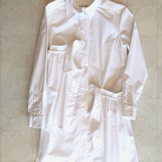 【Akihide Nakachi 】asymmetry long shirts -White-