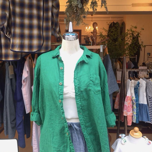 【 OMNIGOD 】Linen Wide work shirts