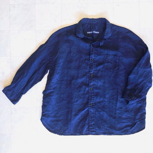 【 OMNIGOD 】Linen Wide work shirts-Indigo-