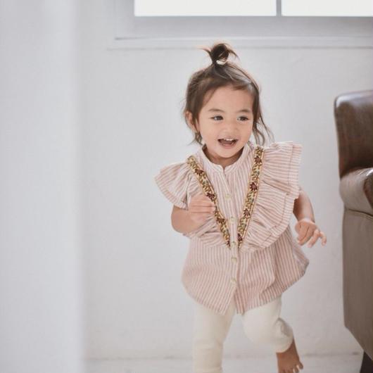 【 melenani 】frill blouse -beige-