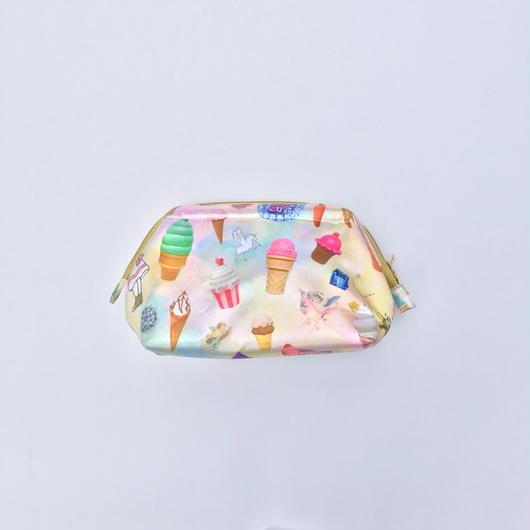 ice creamコラージュ 口金付きポーチ