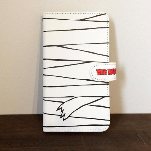 『白ミイラ柄』全機種対応・手帳型スマートフォンケース(Mサイズ)
