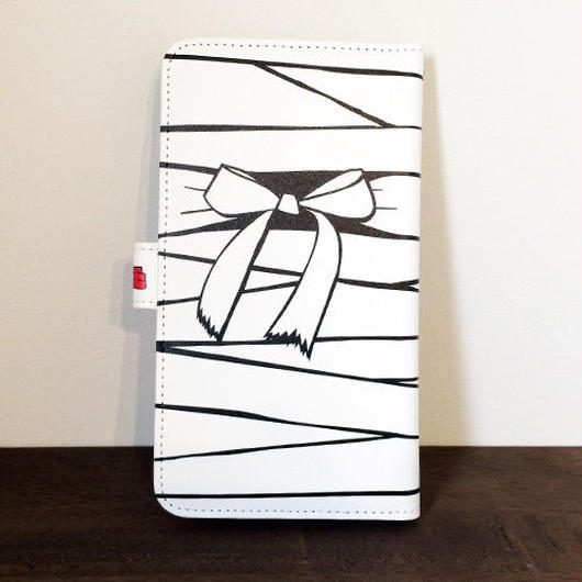 『白ミイラ・リボン柄』全機種対応・手帳型スマートフォンケース(Lサイズ)