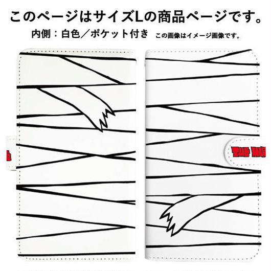 『白ミイラ柄』全機種対応・手帳型スマートフォンケース(Lサイズ)