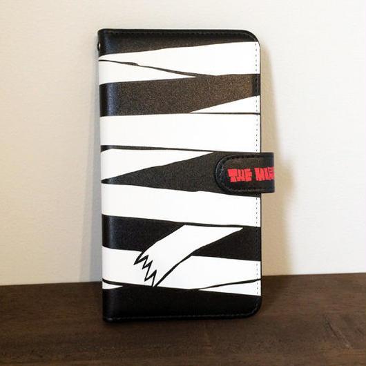 『黒ミイラ柄』全機種対応・手帳型スマートフォンケース(Lサイズ)