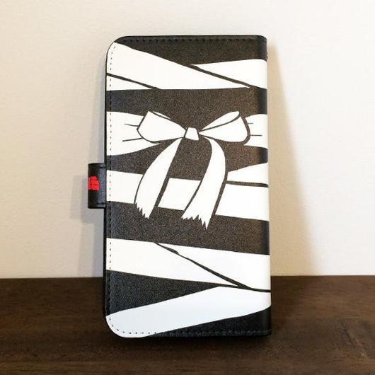 『黒ミイラ・リボン柄』全機種対応・手帳型スマートフォンケース(Lサイズ)