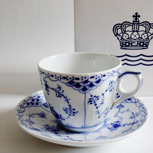 ロイヤルコペンハーゲン ブルーフルーテッド ハーフレース コーヒーカップ&ソーサー