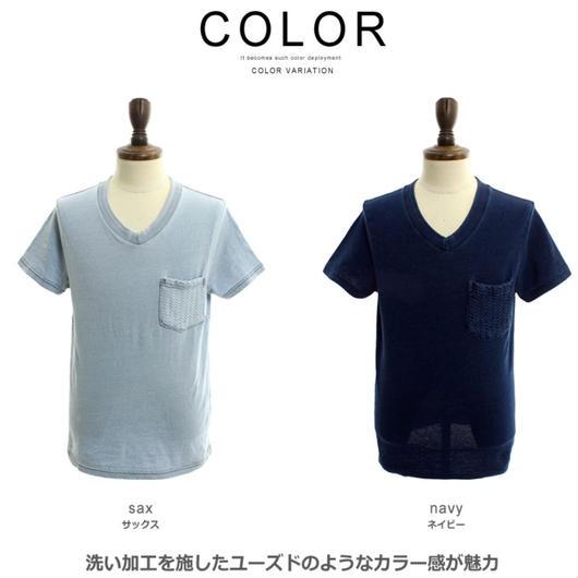 ウオッシュ加工Tシャツ サックス Mサイズ