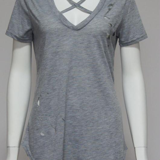 胸元クロスダメージTシャツ  グレー