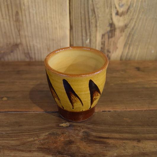 湯呑み 黄 スリップウェア / 湯町窯 A322