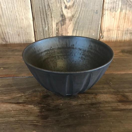 縞手鉢4寸5分 黒 / 福光焼  D111