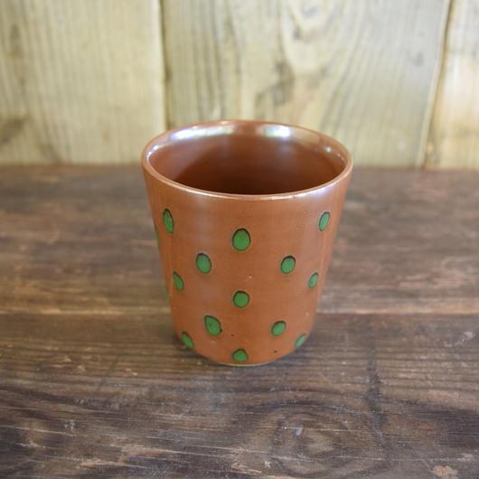 フリーカップ 水玉 柿色 / 袖師焼 B309