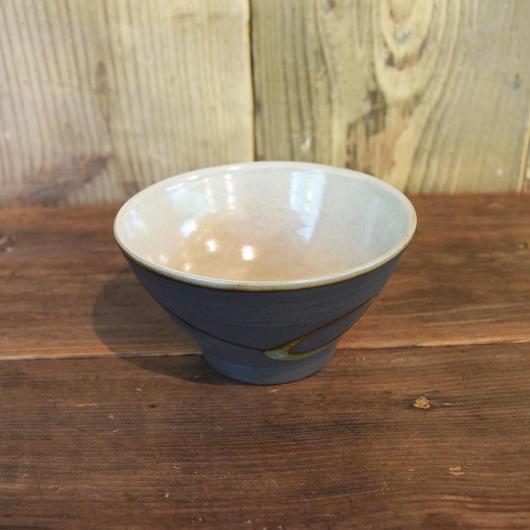 飯碗 丸紋 黒 / 福光焼  D201