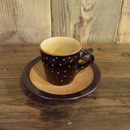 カップ&ソーサー 茶 ドット / 湯町窯 A304
