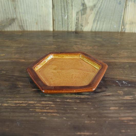 六角皿 黄 / 湯町窯 A115