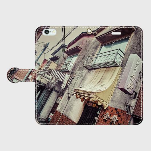 栃木県・佐野駅前の歓楽街 iPhoneケース(手帳型)