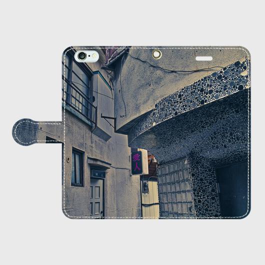 山梨県・富士吉田市スナック街 iPhoneケース(手帳型)