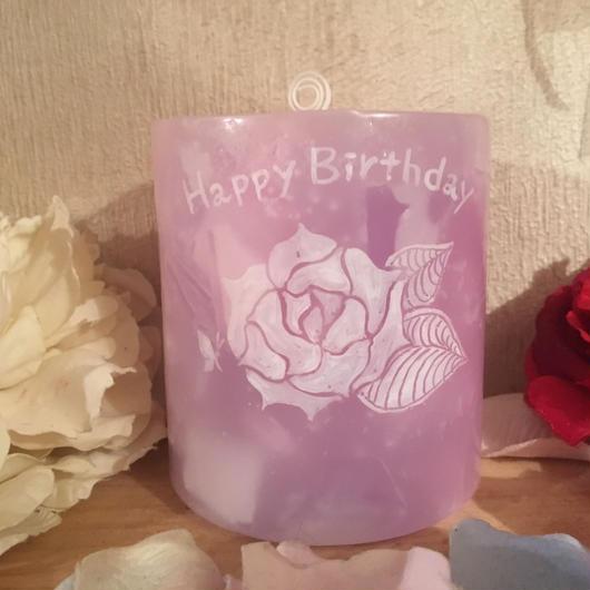 Happy Birthday メッセージ入りキャンドル(ローズの香り)