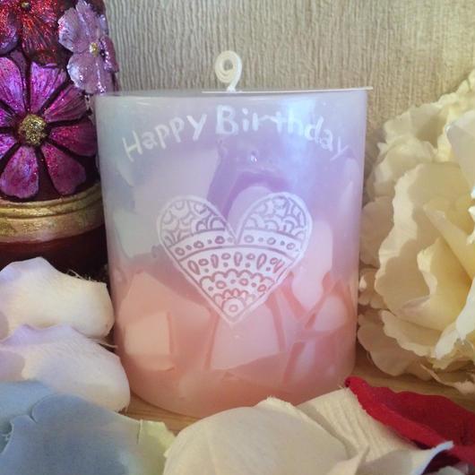 お誕生日プレゼント用アロマキャンドル(ローズマリーの香り)可愛いラッピング付き