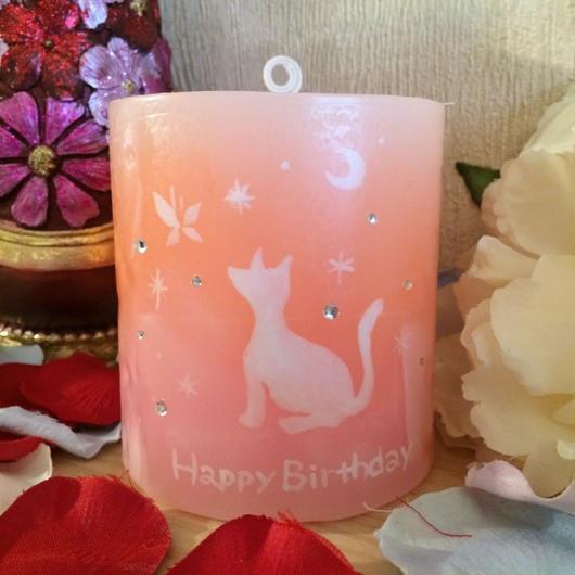 お誕生日プレゼント用ラインストーン付きキャンドル(ラッピング付き)