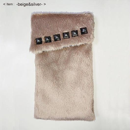 ふわもこポーチ  - beige&silver -