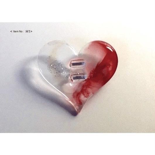 ヘアアクセサリー -HEARTヘアゴム clear&red-