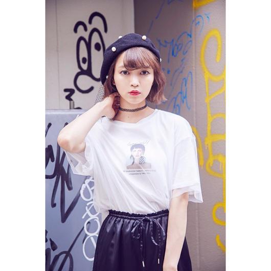 ガールプリントチュールTシャツ