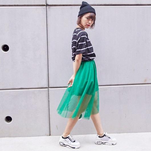 メッシュミモレ丈スカート