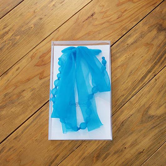 ビーズ&リボン ネックレス(br10/L.blue)